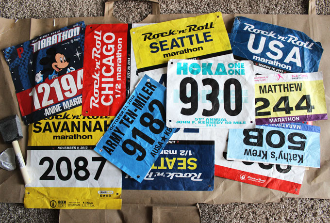 race bib marathon medal display
