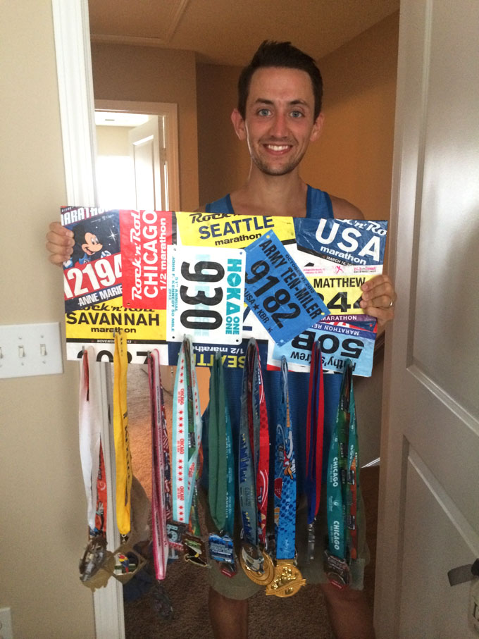 matthew izzo race bib marathon medal display